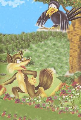 fabula la zorra y el cuervo hambriento