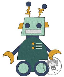 Motif gratuit de broderie machine petit robot