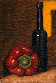 Oil painting of a red pepper beside an antique blue castor oil bottle.