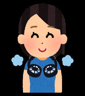 首掛け扇風機のイラスト(女性)
