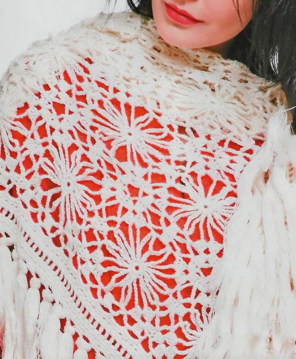 Crochet shawl pattern, triangle, easy, Vintage crochet Square Pattern