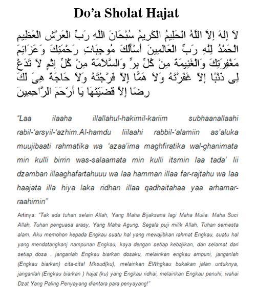 Bacaan Doa Sholat Hajat Lengkap Arab Latin Dan Artinya
