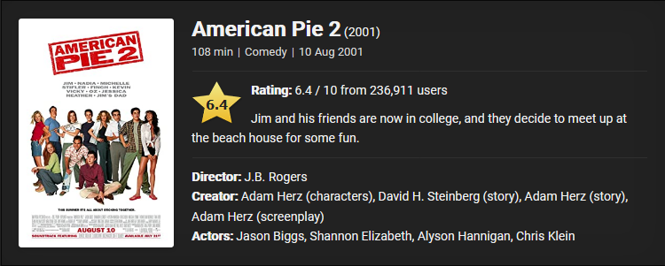 18+ American Pie 2 (2001) Download Full Movie Dual Audio {Hindi-English} 480p [350MB]    720p [900MB]