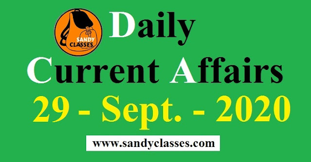 Daily Current Affairs in Hindi / English - 29 September 2020