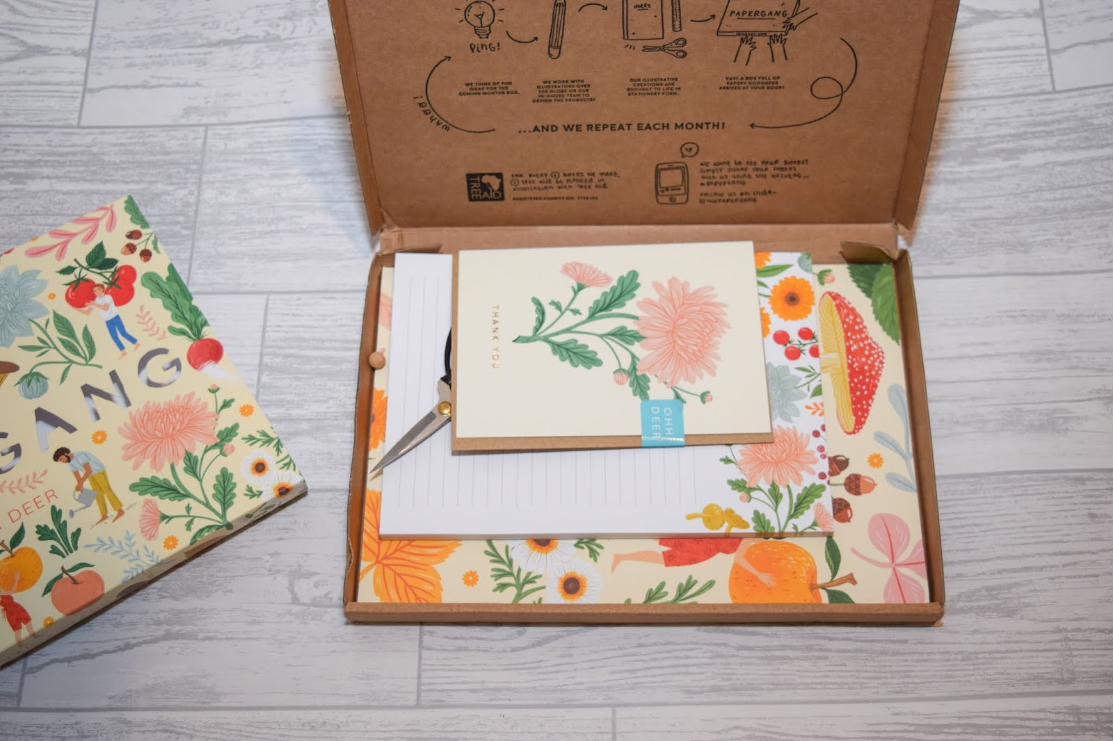 A cardboard box open to reveal the contents inside including stationery and scissors.