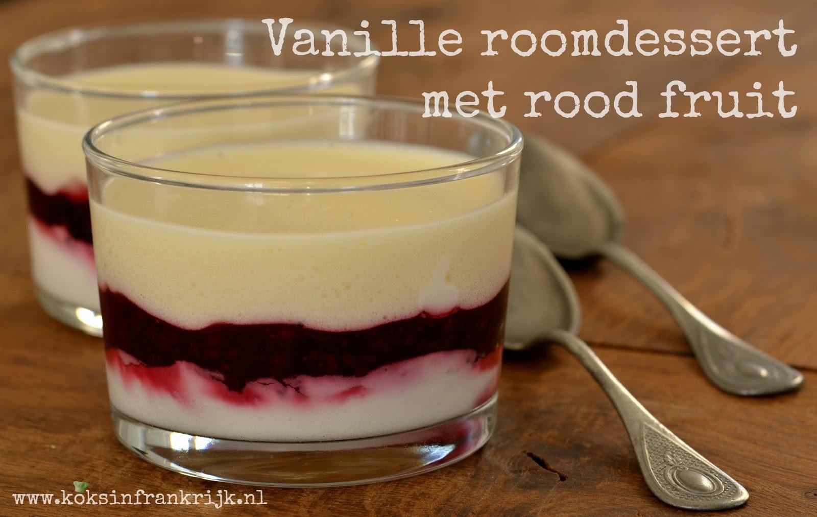 Dessert met mascarpone, vanille, gele room en rood fruit.