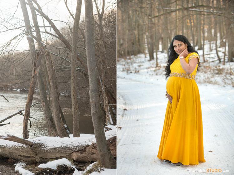 Indian Maternity Photography in Winter Snow - SudeepStudio.com Ann Arbor Portrait Photographer