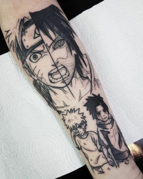 angry Anime Tattoo Sleeve