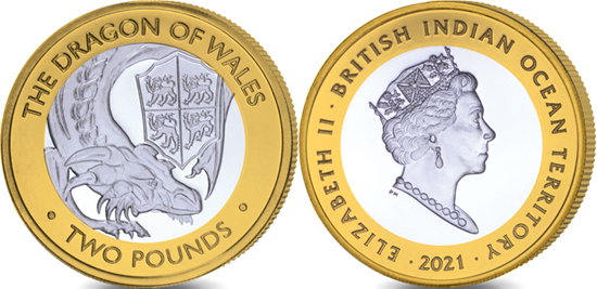 British Indian Ocean Territory 2 pounds 2021 - The Queen's Beasts - The Red Dragon of Wales