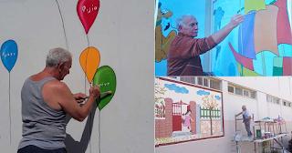 Πάππους ομορφαίνει εθελοντικά σχολεία της Πάτρας με τις ζωγραφιές του