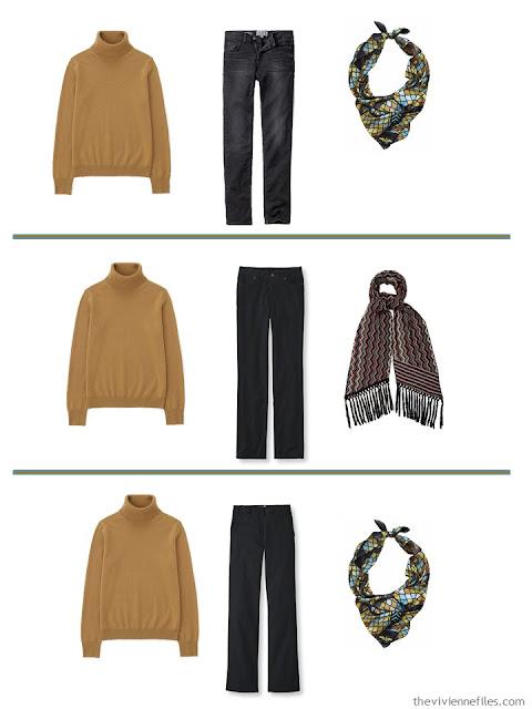 3 ways to wear a mustard yellow cashmere turtleneck