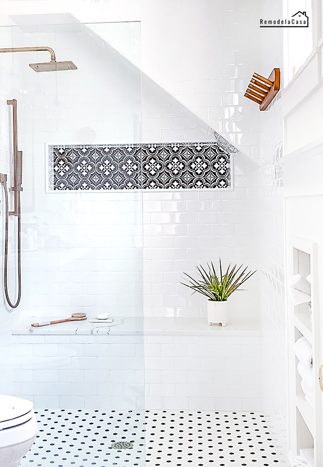 shower niche with decor tiles from Target