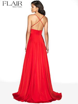 Crepe high Slit flair prom Dress red color Back side