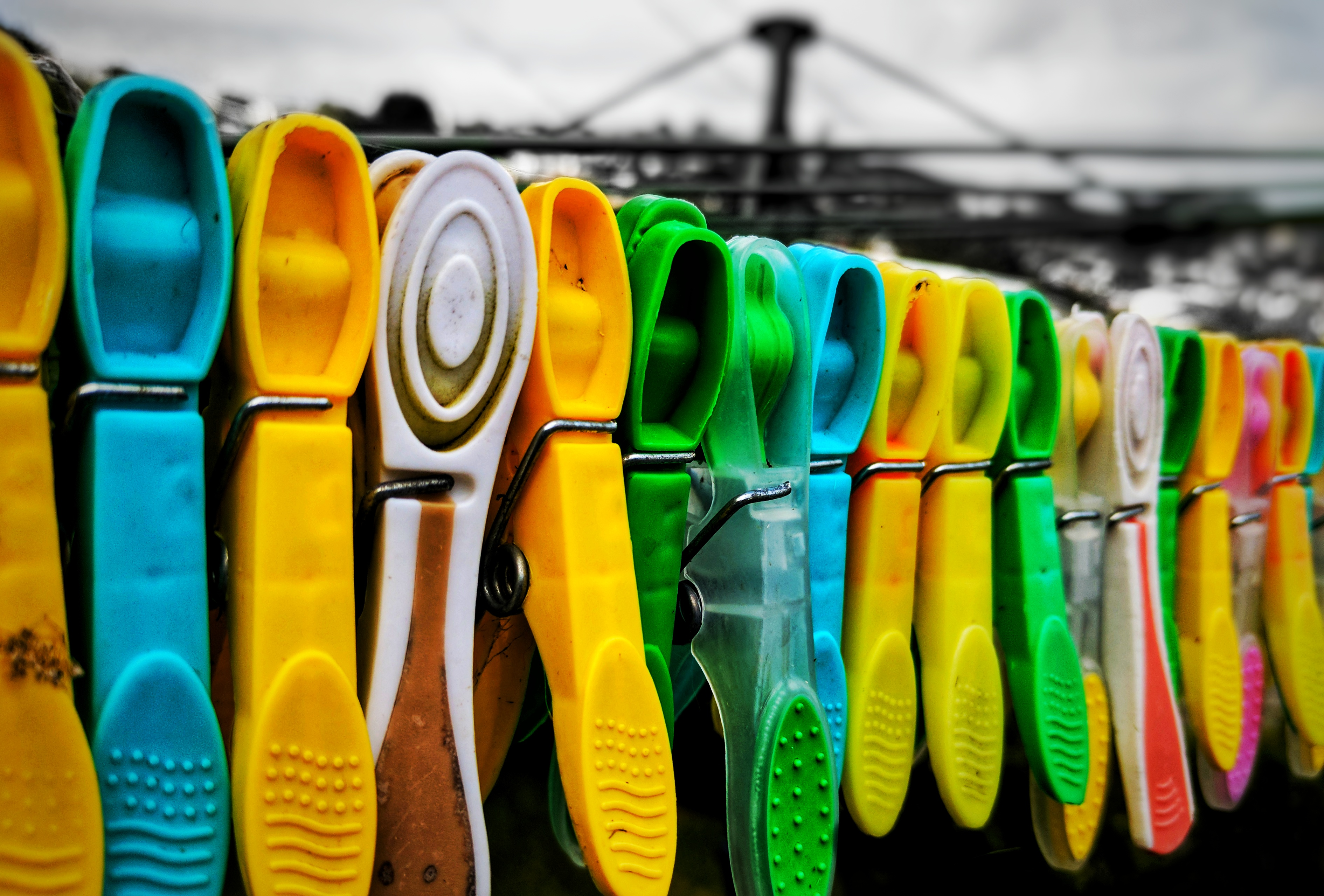 Washing line clothes pegs