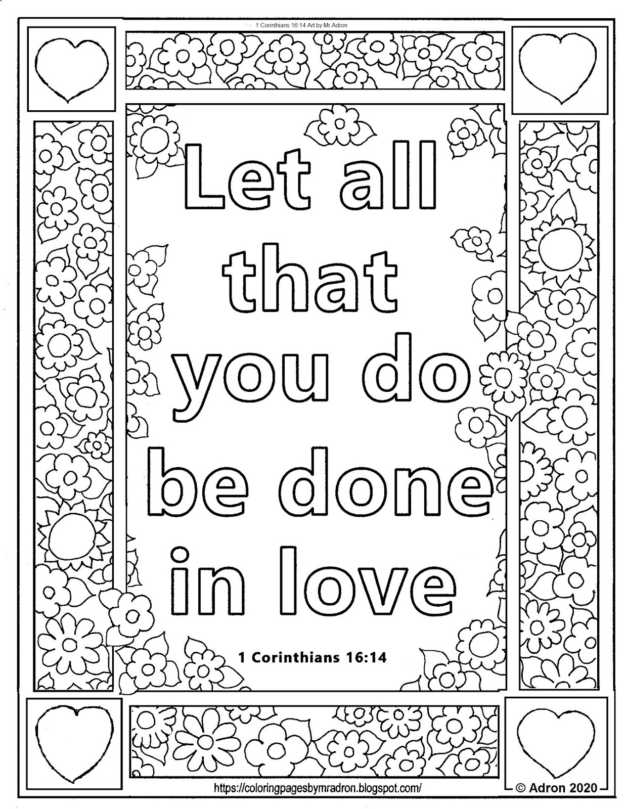 Coloring Pages for Kids by Mr. Adron: Free 1 Corinthians