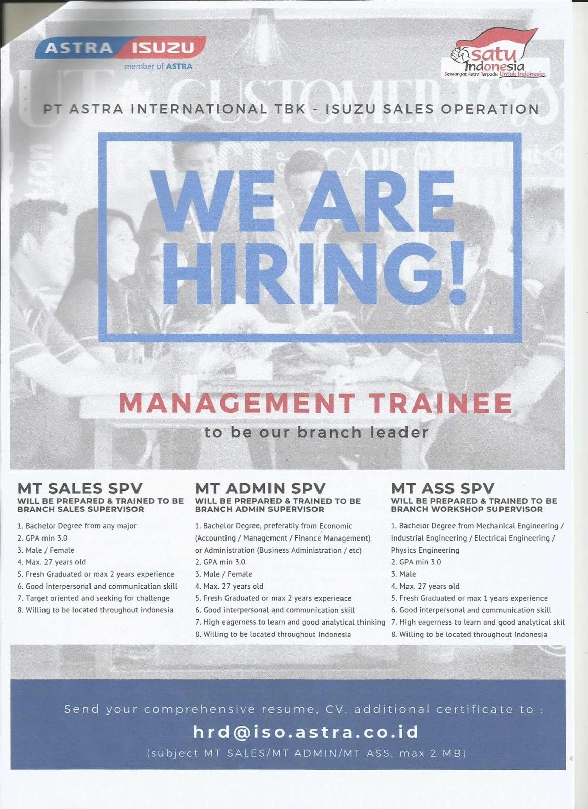 Lowongan Kerja PT Astra International Tbk – Isuzu Sales Operation Tingkat S1 Semua Jurusan Agustus 2019