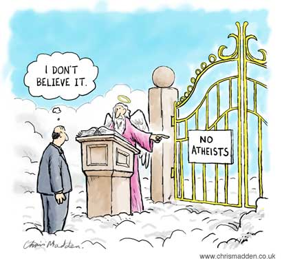 Funny No Atheists I don't believe it Heaven Cartoon Joke Image