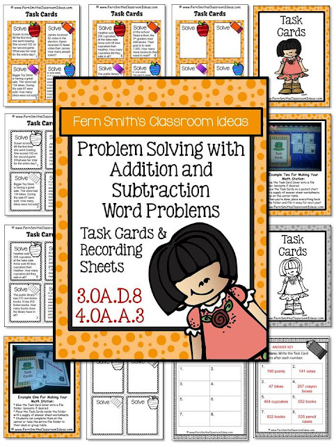 Fern Smith's Classroom Idea's Freebie Friday ~ FREE Problem Solving with Addition and Subtraction Task Cards & Recording Sheets and Answer Keys at TeachersPayTeachers.