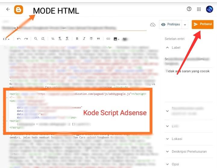 Kode Script Iklan Adsense