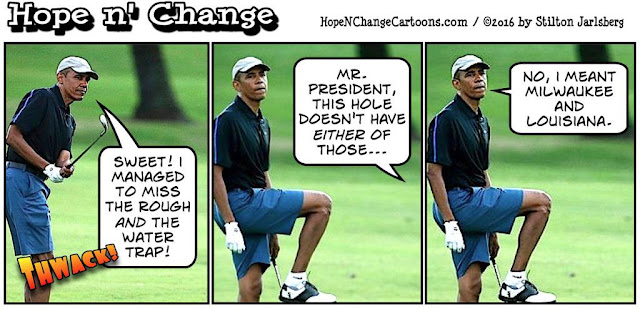 obama, obama jokes, political, humor, cartoon, conservative, hope n' change, hope and change, stilton jarlsberg, vacation, golf, riots, race, police, louisiana, flood, disaster