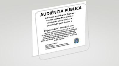 Vereadores promovem Audiência Pública para debater PL que aumenta aalíquota de contribuição dos funcionários públicos municipais