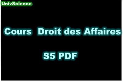 Cours Droit des Affaires S5 PDF.