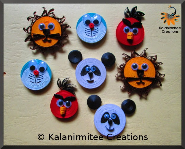 kalanirmitee: paper quilling- quilled animals- quilled animal cartoons-quilled magnets