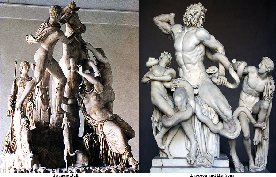 The Farnese Bull, The Laocoön and His Sons - Hellenistic group statues
