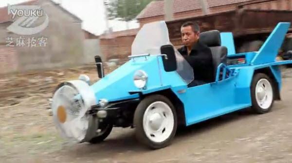 مزارع صيني يصنع سيارة تعمل بطاقة الرياح beijing-farmer-build