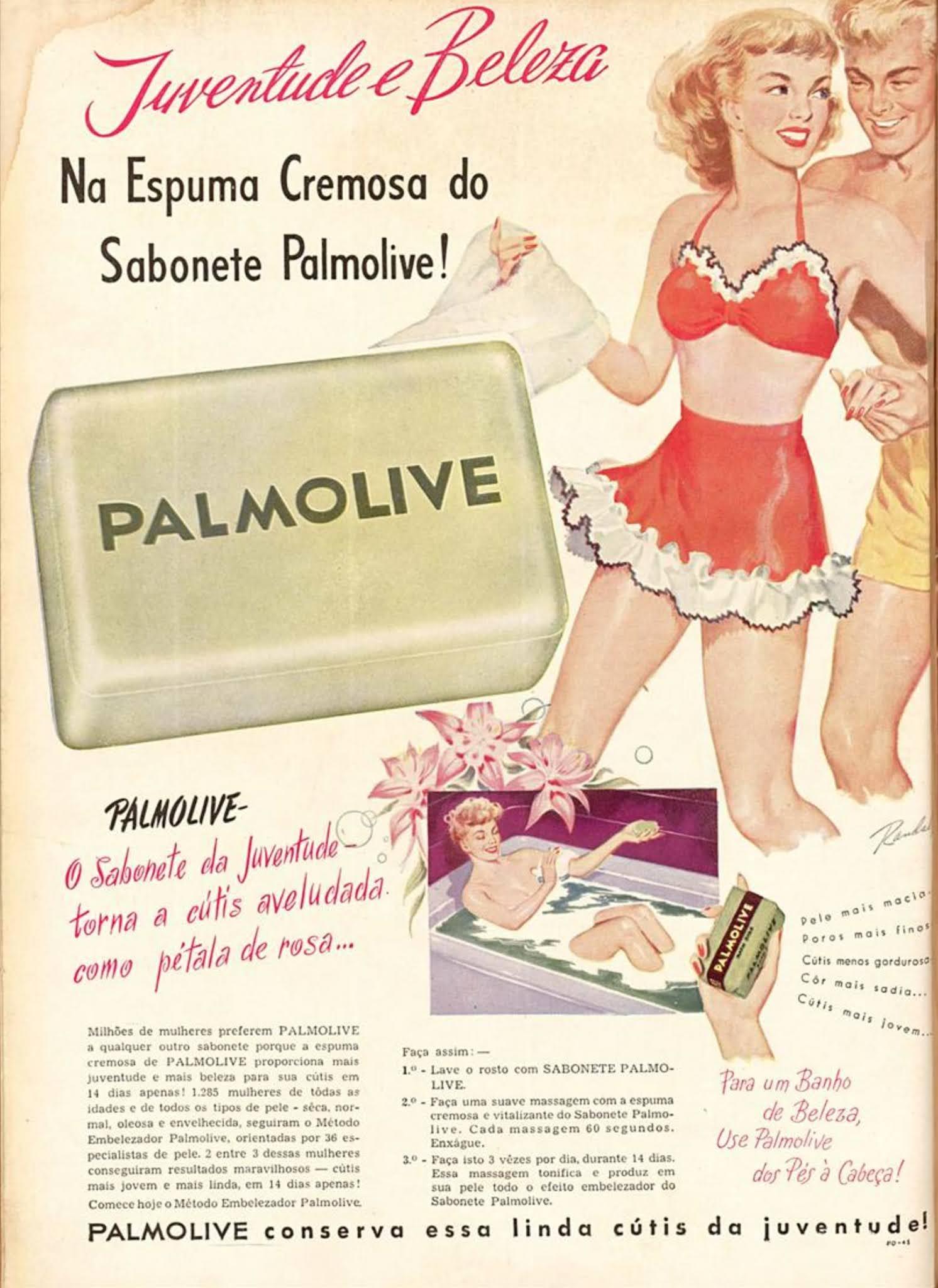 Propaganda antiga da Palmolive promovendo seu sabonete em 1950