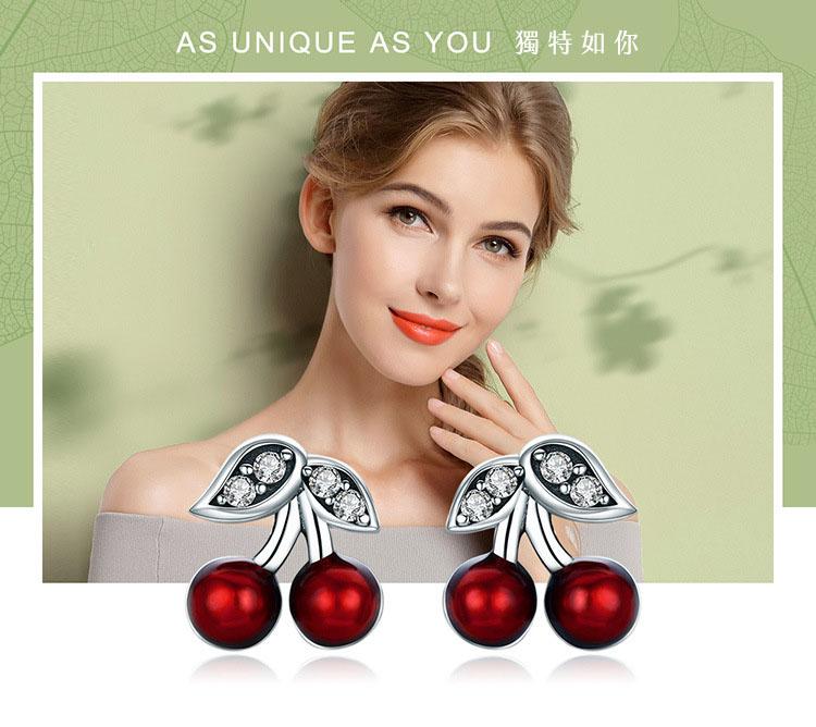 甜美櫻桃 925純銀耳環