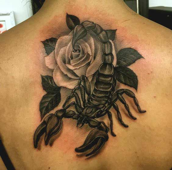 3d scorpion with rose tattoo