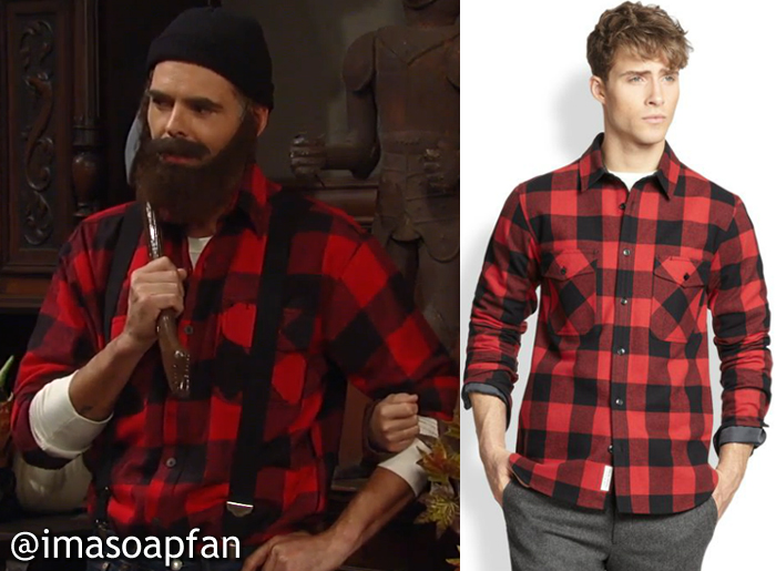 8e7f077bffed3 Patrick was dressed as a Paul Bunyan the lumberjack and was wearing a red  and black buffalo plaid shirt by Rag   Bone.