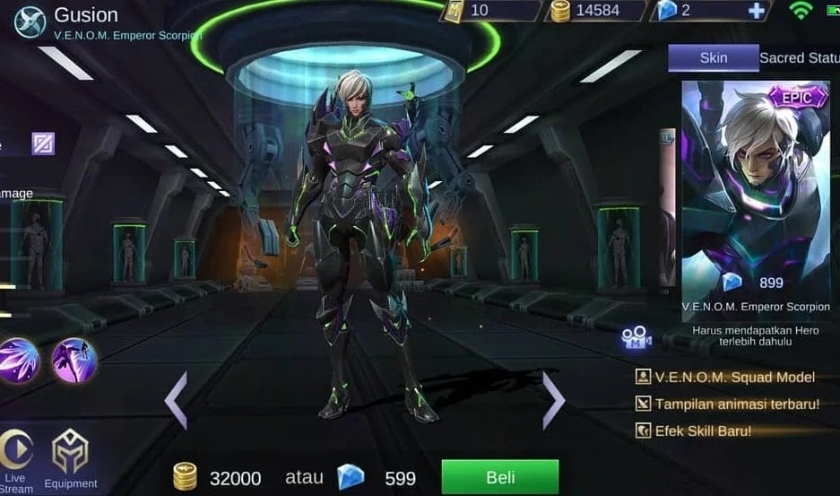 V.E.N.O.M Emperor Scorpion, Skin V.E.N.O.M Gusion
