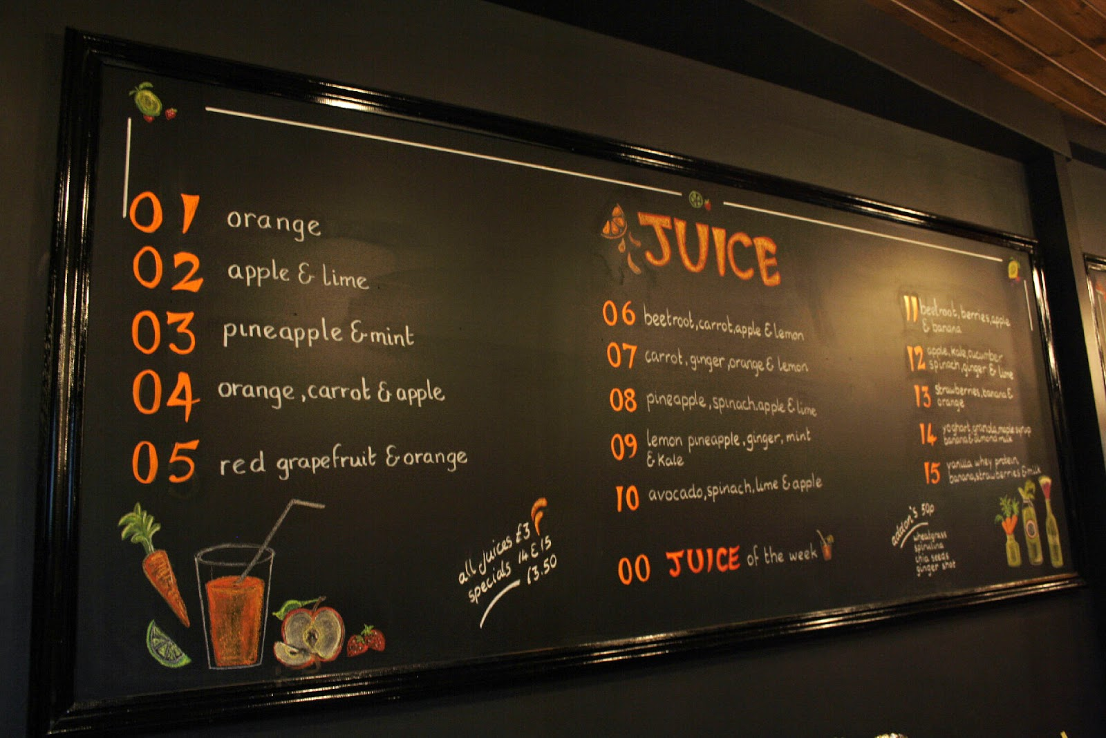 The simple but delicious juice menu from Zero in Berkhamsted