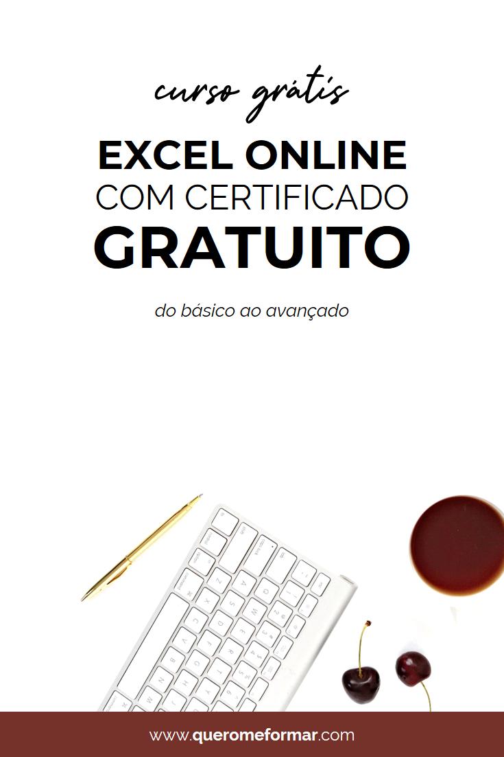 Imagens para Pinterest Curso Excel Online Gratuito COM CERTIFICADO do Básico ao Avançado