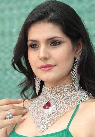 Zareen Khan Gemstone Studded Platinum Necklace