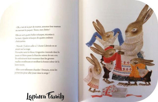 quatre lapins et echarpes fantastiques