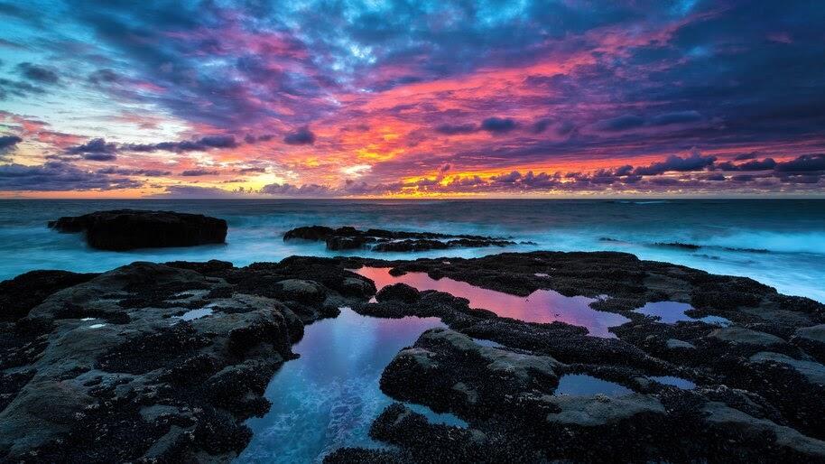 Sunset, Coast, Horizon, Sky, Clouds, Sea, Waves, Scenery, 8K, #6.914