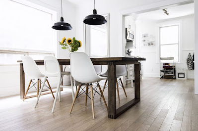 Dining chairs and wooden table idea for Scandinavian dining room with rustic dining table and black pendant lights for Scandinavian style
