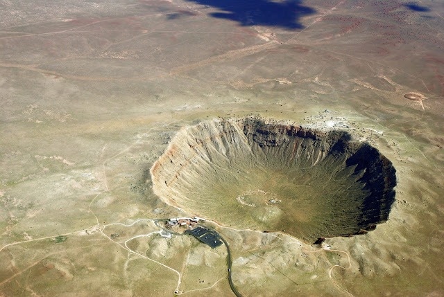 The Barringer Meteor Crater in Arizona was created 50,000 years ago