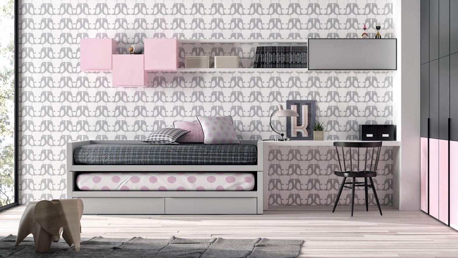 habitacion infantil con cama compacto rosa