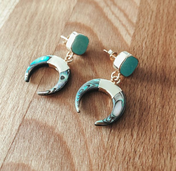 Boucles d'oreilles Boréal de la Collection Paua l'oreille des mers Hokee Paris