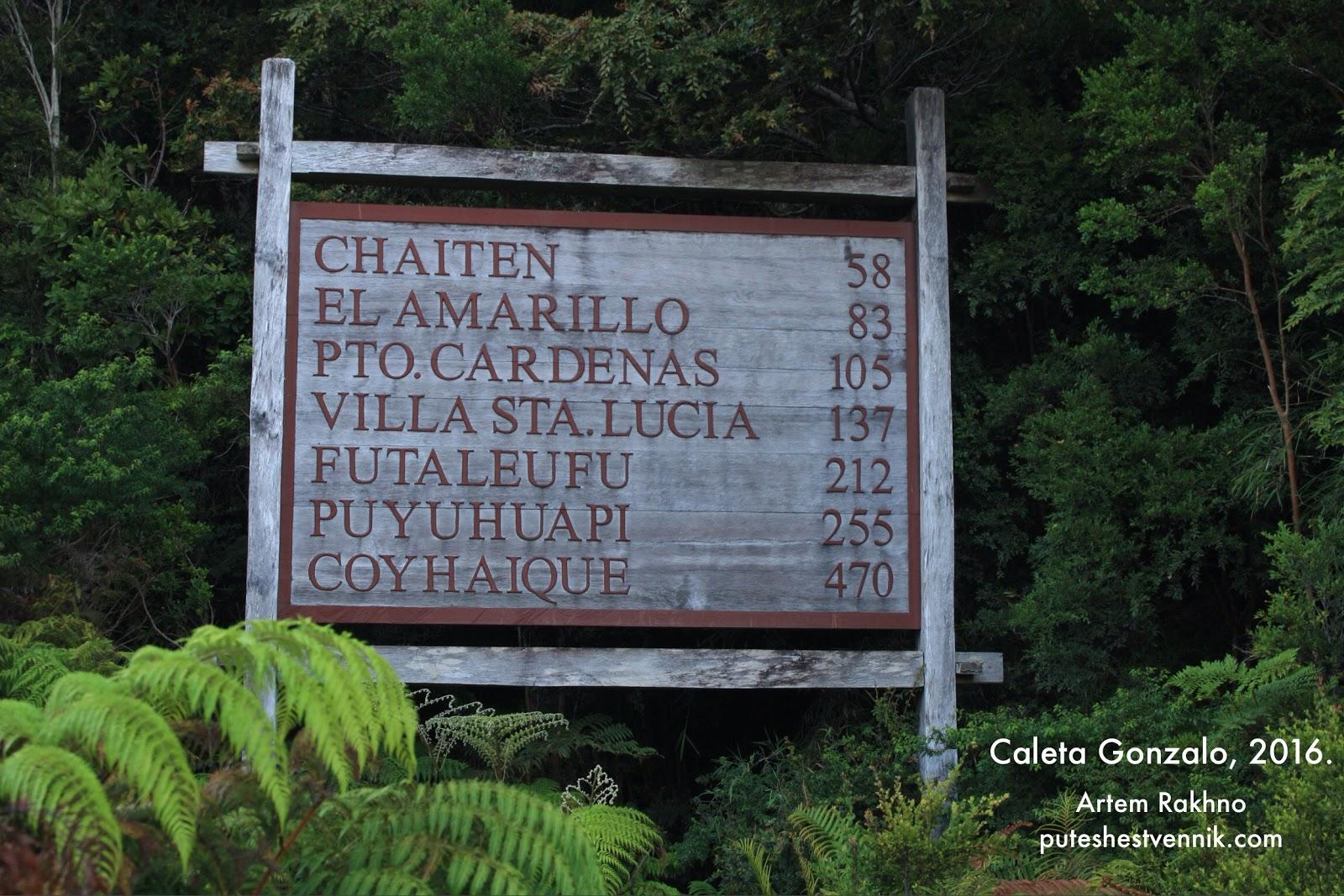 Деревянная таблица расстояний в Чили