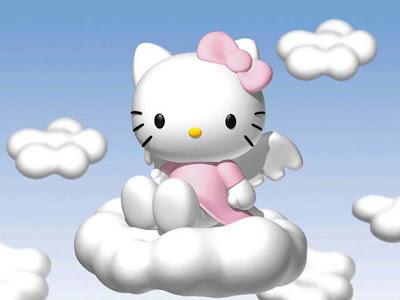 Gambar Hello Kitty Lucu Di Awan Bersayap