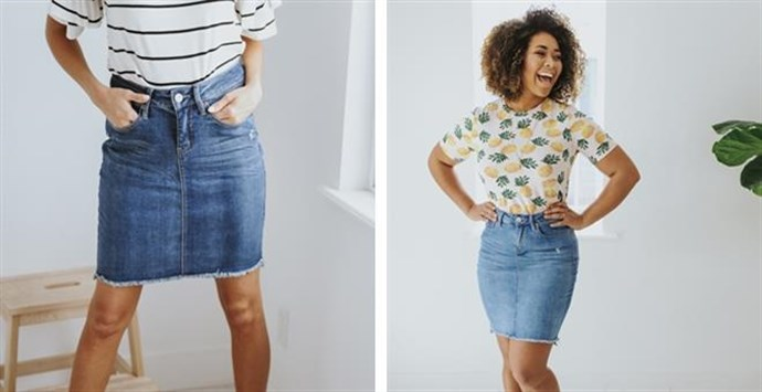 a88b9e0dc Denim skirts are so fun and they go with everything. You can dress them up  or down! These cute skirts come in two colors and in sizes 4 to 16.