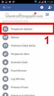 setting aplikasi pemberitahuan layar fb