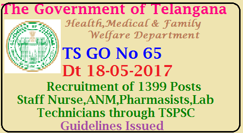 TS GO No 65 Recruitment of Staff Nurse ANM Lab technicians By TSPSC Government of Telangana , Health , Medical & Family Welfare Department| TS GO No 65 TSPSC Recruitment in Telangana Guidelines for filling up 1399 Posts Staff nurse ANM Paramedical and other categories through TSPSC Orders Issued | Government have issued guidelines i.e., details of service rules, qualifications, procedure for selection etc for filling up the following administrative, Nursing & Para-Medical posts in HM & FW Department through Telangana State Public Service Commission which is a recruiting agency| TS-GO-65-recruitment-of-staff-nurse-anm-labtechnician-pharmasissts-tspsc-guideline-issued/2017/05/TS-GO-65-recruitment-of-staff-nurse-anm-labtechnician-pharmasissts-tspsc-guideline-issued.html