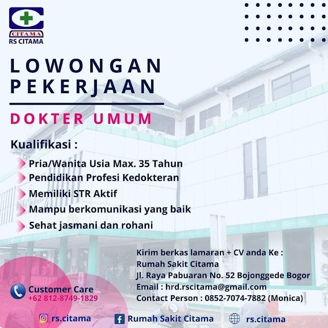 Loker Dokter Rumah Sakit Citama, Bogor