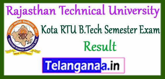 RTU Rajasthan Technical University B.Tech Kota 2nd 4th 6th 8th Semester Result 2017-18